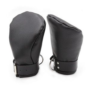 camaTech PU Leather Padded Mittens Soft Puppy Mitts Hand Bondage BDSM Dog Palm Fist Gloves Restraint Aduld Game For Couple Y191207