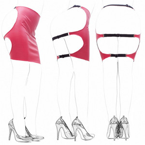 Adult Toys Red White Black Sexy Women's Pu Leather Slave Ass Skirt Open Hip Bonding Fashion Hippie Mini Dress
