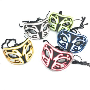 Wholesale 10 Colors El Cold Light Glow Mask Women Men Halloween Carnival EVA Fox Dance Party Half Face Masks Festival Cosplay Costume Masquerade M556F