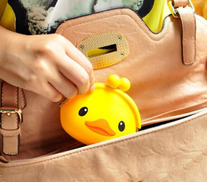 Wholesale Kawaii CM Yellow Duck Little Silicone HAND Coin Purse Wallet Pouch Case BAG Women Bags Pouch Beauty Holder BAG Handbag