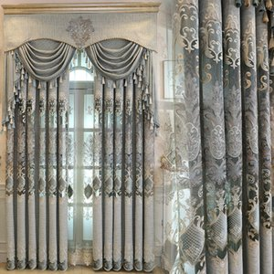 Wholesale New European Luxury Gray Curtains for Living Dining Room Bedroom Fabric Chenille Embroidery Valance Curtain Fabric Custom