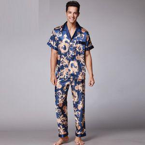 2017 Retro Fashion V Neck Short Sleeve pyjamas Soft Smooth Fake Silk Pajamas for Men with L XL XXL with Printing SY018