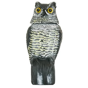 Wholesale 1pc Large Realistic Simulation Owl Decoy With Rotating Head Bird Pigeon Crow Scarer Scarecrow Car Home Garden Decoration
