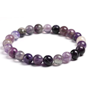 Wholesale 6mm mm mm Round Ball Natural Semi precious stones Purple Fluorite Beaded Bracelet Woman Handmade Jewelry Unique Gift