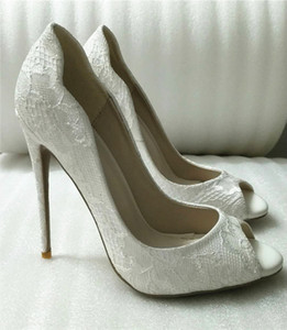 Wholesale 2019 new cm cm heel height High quality Hot sale White Sexy High heels open Toe Ladies Jeweled bridal Wedding Shoe Closed Toes