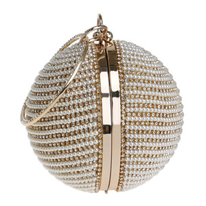 Wholesale Pearl Evening Bag Party Clutch Round Shape Women s Handbag Wedding Purse for Girls Lady Fashion Handle Totes Band Designer Banquet
