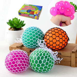 Wholesale 6cm Anti Stress Mesh Face Reliever Grape Ball Autism Mood Squeeze Relief Healthy Toy Funny Gadget Vent Decompression toys Gifts
