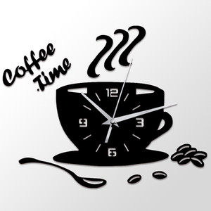 Wholesale 3D DIY Acrylic Wall Clock Modern Kitchen Home Decor Coffee Time Clock Cup Shape Wall Sticker Hollow Numeral Clock
