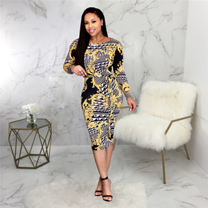 Wholesale Autumn Digital Printed Women Dress Fashion Crew Neck Female Pencil Dresses Casual Designer Ladies Clothing with Sashes