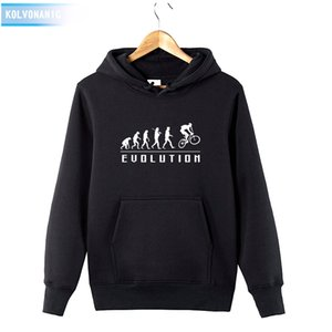 Wholesale HUMAN EVOLUTION RIDE ON A BICYCLE Print Sweatshirt Tracksuit For Men s Winter Hoody Dress Cotton Funny Pullover Hoodies