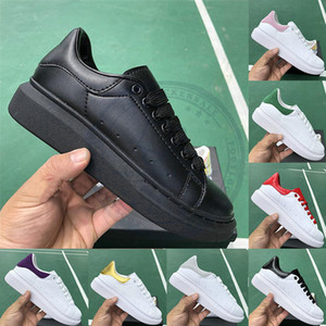 Wholesale All Blacks Fashion White Leather Casual Shoes For Mens Womens Top Quality Party Wedding Dress Shoes Luxury Designer platform sneakers