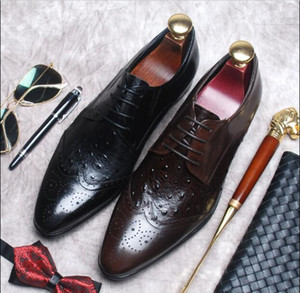New leather shoes men's leather England carved pointed toe fashion business dress shoes breathable wedding lace-up men's shoes