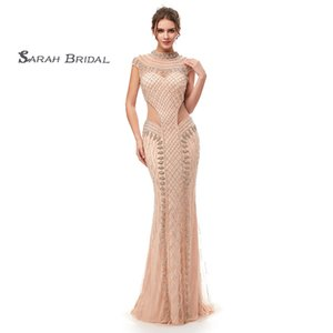 Wholesale 2019 Champagne Short Sleeves Mermaid Prom Dresses With Sequins High-neck Tulle Hollow Evening Party Gowns 5401