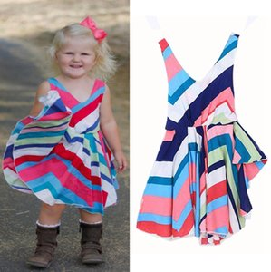 Wholesale Baby Girl Clothes Rainbow Stripe Girls Dresses Backless Toddler Princess Dress Cotton Suspender Dresses Fashion Kids Clothing DHW3836
