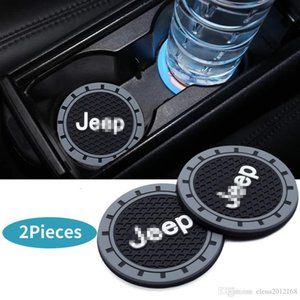 2 Pcs 2.75 inch Car Interior Accessories Anti Slip Cup Mat for Jeep Grand Cherokee Wrangler Compass Cherokee Renegade Patriot Grand Comander on Sale