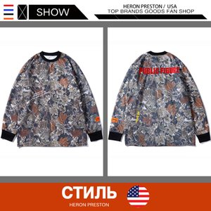 Wholesale Mens Luxury Designer Clothes European and American Hip Hop Popular Logo HERON PRESTON Long Shirt Camouflage Long Sleeve T shirt