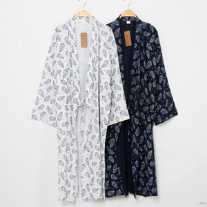 Wholesale Unisex Lover Couple Pajamas Long Robe Japanese Traditional Kimono Yukata Jinbei for Women Men Home Loose Sleepwear Nightgown