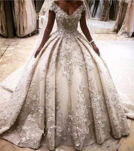 Wholesale 2019 Luxury Ball Gown Wedding Dresses Off Shoulder Lace D Floral Appliques Beaded Cathedral Train Plus Size Puffy Formal Bridal Gowns
