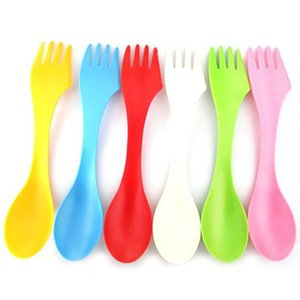 Wholesale 6x Fork Knife Camping Hiking Spoon Fork knife Utensils Spork Combo Travel Gadget Cutlery Drop Shipping
