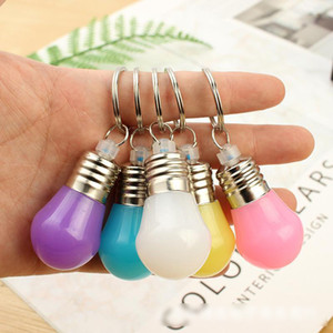 Wholesale Colour Changing Led Light Mini Bulb Torch Keyring Keychain rgb beads key ring pendant lamp couple key chain for christmas gifts kids toys
