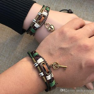 Wholesale couple bracelet male female for sale - Group buy Couple bracelet a pair of male and female students vintage hand woven national wind leather lover accessories