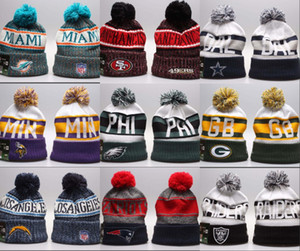 Wholesale 2019 New Arrival Beanies Hats American Football teams Beanies Sports winter side line knit caps Beanie Knitted Hats drop shippping