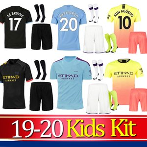 Wholesale FC Manchester MAHREZ JESUS DE BRUYNE MAN AGUERO CITY soccer jersey kids kit 2019 2020 SANE boys 19 20 football shirt uniforms