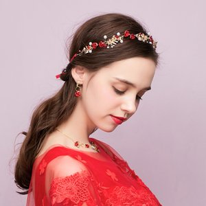 Wholesale New bride tiara red Korean super fairy beauty wedding jewelry toast clothing hair accessories three piece suit