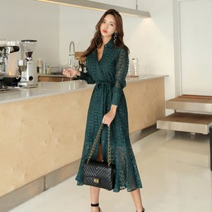 Wholesale Vintage Hollow out Lace Women Long Single Breasted Bandage Elegant Mermaid Female Dress Full Sleeve Autumn Vestidos Femme C19040101
