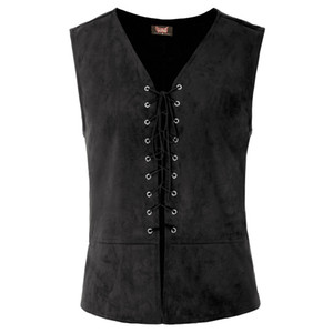 new slim vest tops Men's Stylish Sleeveless V-Neck Lace-up Front Renaissance Costume Vest smart casual classic Tops black on Sale