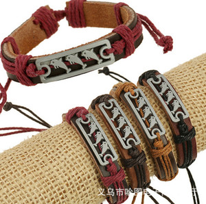 Wholesale Genuine Leather Ornaments Alloy Dolphin Cowhide Jewelry Element Shop Bracelet