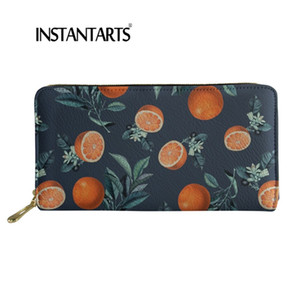 Wholesale INSTANTARTS Oranger Fruit Printed Fashion Wallets For Women Band Card Holders Female Travel Long Money Purse Carteira Feminina