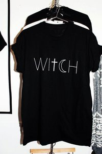 Wholesale Women Fashion Slogan Unisex Cotton Casual Tees Cross Moon Graphic Gift for Her Grunge Top T Shirts Halloween Witch T shirt Funny