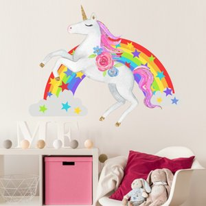 Wholesale Retail Kids Rainbow Star unicorn wall stickers home decor Art wall sticker Children waterproof Decal Wallpaper girls Bedroom Decorations