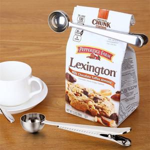 New Multifunction Stainless Steel Coffee Scoops Milk Tea Ground Food Spoon With Bag Clip Sealing Powder Drinkware Tools
