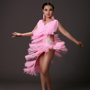 Yellow Sequins Tassel Kids Latin Dress Pink Modern Dance Dress For Girls Dance Competition Salsa Rumba Latin