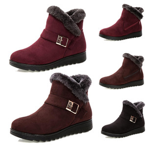 Wholesale girls 13 boot resale online - New Non Brand Fashion winter women boots Triple Black Red Brown Suede snow ankle boots Girl Female Shoes Keep Warm Style