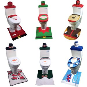 Wholesale 1Set Toilet Foot Pad Seat Cover Cap Christmas Decorations Happy Santa Toilet Seat Cover and Rug Bathroom Accessory Santa Claus