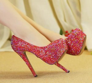 Wholesale Dazzling red crystal wedding shoes rhinestones bride shoes formal dresses banquets performance of adult high heels