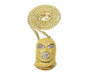 Wholesale african masks resale online - MensHip Hop CSGO Pendant Necklace Punk Style K Alloy Gold Silver Plated Mask Head Charm Pendant High Quality Cuban Chain