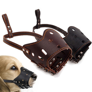 Wholesale leather muzzles resale online - Fashion Soft PU Leather Adjustable Dog Prevention Bite Masks Anti Bark Bite Mesh Soft Mouth Muzzle Grooming Chew Stop For dogs