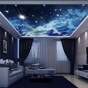 Wholesale 3d paper stars resale online - Large Custom Wall Mural d Ceiling Murals Wallpaper Blue Sky Stars Universe d Photo Mural for Hall Room d Wall Murals