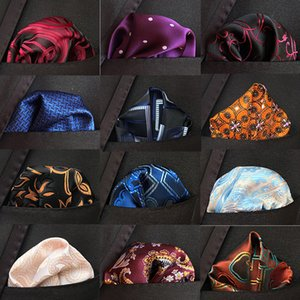 New Design Silk Hanky Red & Black Paisley Men Fashion Floral Dot Pocket Square Handkerchiefs for Men Suit