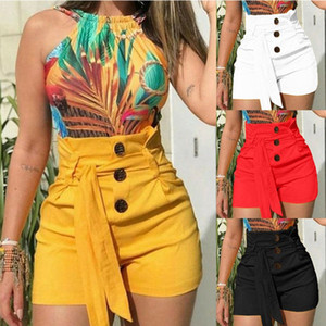 Wholesale 2019 fashion Europe and the United States explosion models women s shorts high waist sexy button with wide leg pants