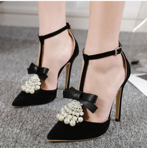 Europe 2019 NEW Sexy Flock Women Sandals Pointed Toes Summer Heels Pearls Rhinestone Shoes Buckle Thin Heel Black 11cm Free Ship