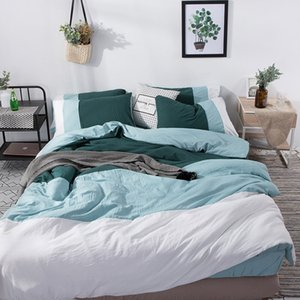 Wholesale white striped bedding resale online - Nordic Blue White Striped Bedding Set Solid Color Blocking Duvet Cover flat Fitted Sheet Bed Linen Soft Washed Cotton Twin Queen