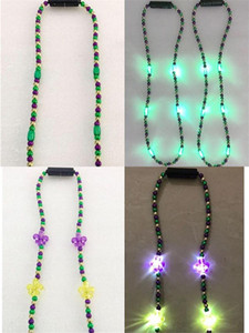 LED Plated Beads Necklace 2 Styles Flashing Glowing Pendant Necklaces Toys Christmas Party Favor Gifts Fashion Wearing Ornamen High Quality