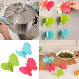 Wholesale Butterfly Shaped Silicone Anti Scald Device Silicone Anti scalding Tray Kitchen Tool Home Anti Scald Gadget Random Color