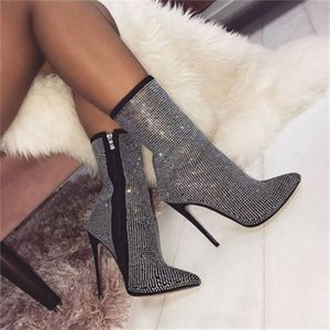 Wholesale Women s booties winter shiny rhinestone decorative side zipper pointed CM high heel boots fashion comfortable shoes women