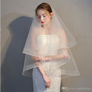 Wholesale Ivory Short Bridal Veils Elegant Organza Tulle Real Pictures Price White Ivory Short Wedding Veils with Comb Accessories